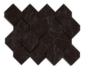 Marvel Nero Marquina Mosaico Esagono 3D (AS4B)
